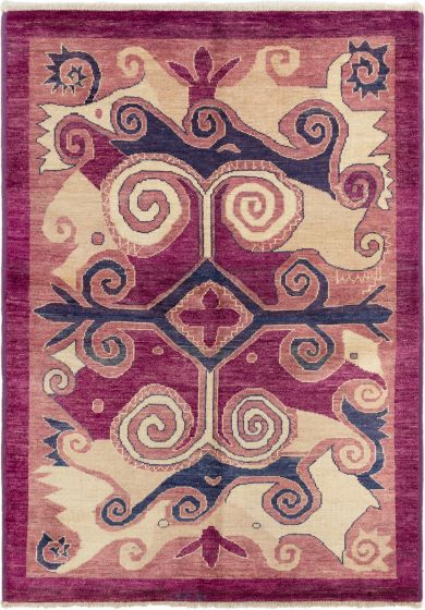 Bordered  Transitional Purple Area rug 5x8 Indian Hand-knotted 280283