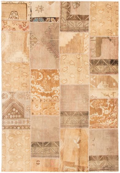 Casual  Vintage Green Area rug 6x9 Turkish Hand-knotted 297948
