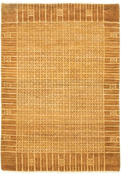 Bordered  Transitional Brown Area rug 3x5 Pakistani Hand-knotted 318322