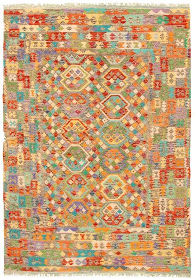 Bordered  Geometric Multi Area rug 6x9 Turkish Flat-weave 329864