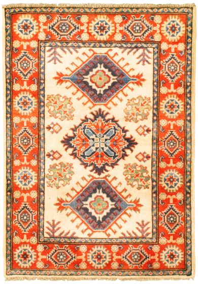 Bordered  Traditional Ivory Area rug 3x5 Afghan Hand-knotted 330165