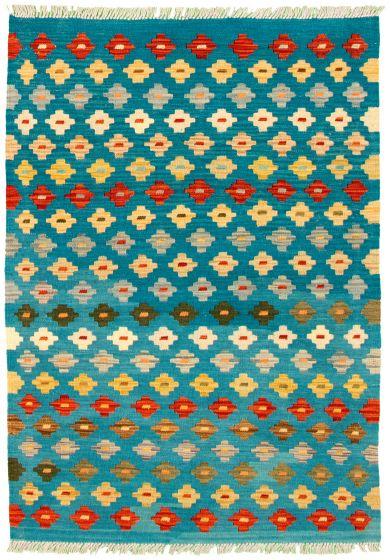 Flat-weaves & Kilims  Geometric Blue Area rug 3x5 Turkish Flat-weave 330171