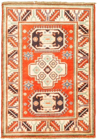 Bordered  Traditional Red Area rug 3x5 Afghan Hand-knotted 330259