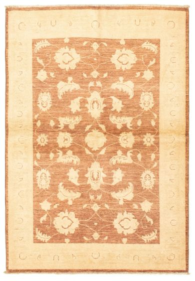 Bordered  Traditional Brown Area rug 3x5 Afghan Hand-knotted 331267