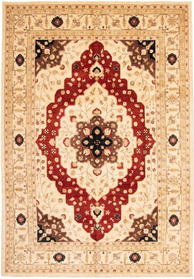 Bordered  Traditional Ivory Area rug 10x14 Afghan Hand-knotted 338463