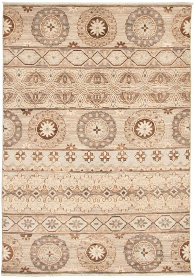Casual  Transitional Brown Area rug 5x8 Pakistani Hand-knotted 339023