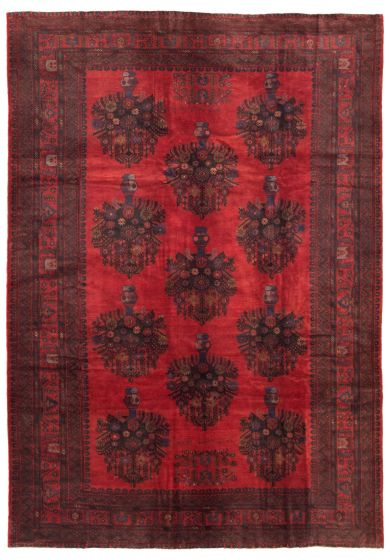 Bordered  Tribal Red Area rug 6x9 Afghan Hand-knotted 342468