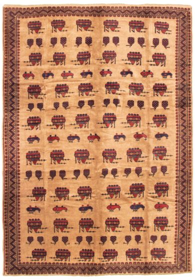 Bordered  Tribal Brown Area rug 6x9 Afghan Hand-knotted 342486