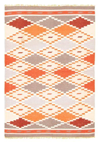 Flat-weaves & Kilims  Transitional Yellow Area rug 4x6 Turkish Flat-weave 344517