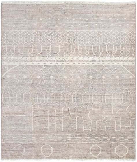 Casual  Transitional Grey Area rug 6x9 Indian Hand-knotted 292964