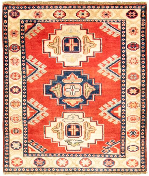 Bordered  Traditional Red Area rug 3x5 Afghan Hand-knotted 330298