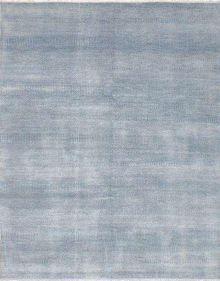 Transitional Blue Area rug 6x9 Indian Hand-knotted 222453