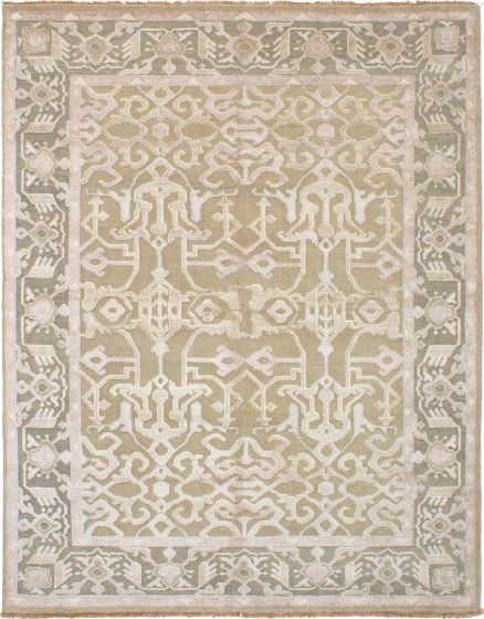 Bordered  Traditional Green Area rug 6x9 Indian Hand-knotted 271714