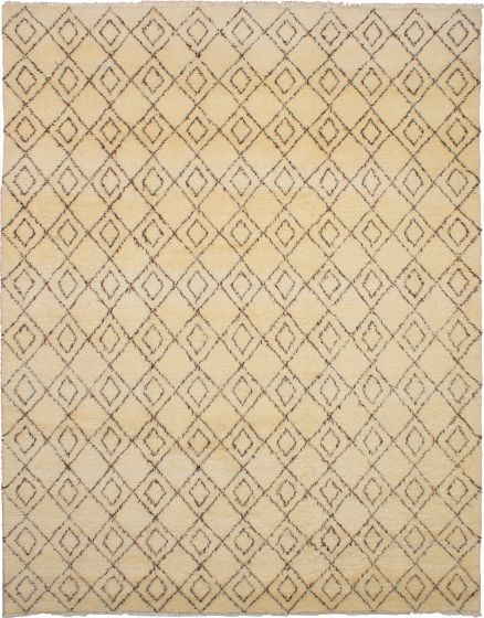 Moroccan  Transitional Ivory Area rug 9x12 Moroccan Hand-knotted 272183