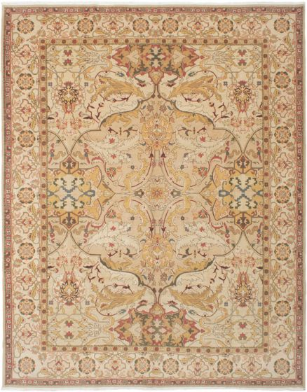 Bordered  Traditional Yellow Area rug 9x12 Indian Hand-knotted 286318