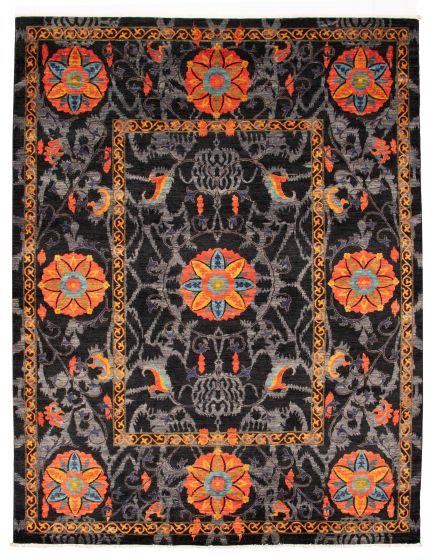 Bordered  Transitional Black Area rug 9x12 Pakistani Hand-knotted 311127