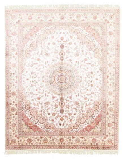 Bordered  Traditional Ivory Area rug 6x9 Chinese Hand-knotted 313433