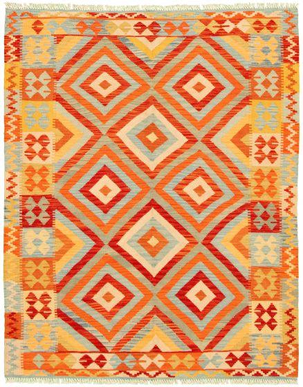 Bordered  Geometric Multi Area rug 4x6 Turkish Flat-weave 330254