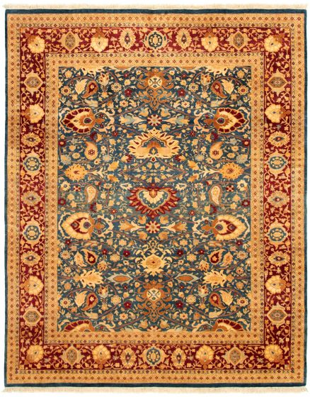 Bordered  Traditional Blue Area rug 6x9 Pakistani Hand-knotted 330607