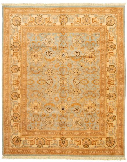 Bordered  Traditional Blue Area rug 6x9 Pakistani Hand-knotted 330617