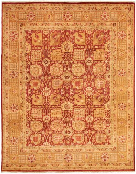 Bordered  Traditional Red Area rug 9x12 Pakistani Hand-knotted 337653