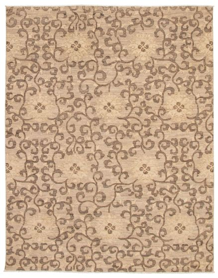 Casual  Transitional Brown Area rug 6x9 Pakistani Hand-knotted 338767