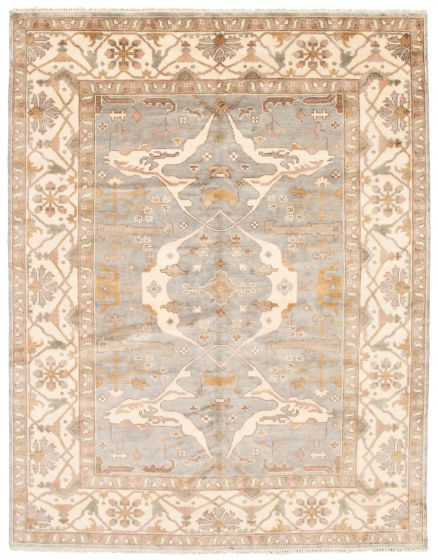Bordered  Traditional Blue Area rug 6x9 Indian Hand-knotted 340592