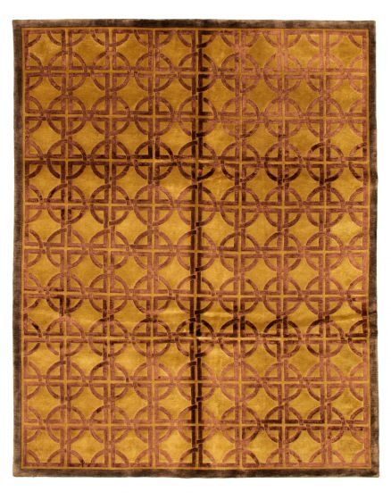 Casual  Transitional Brown Area rug 6x9 Nepal Hand-knotted 349543