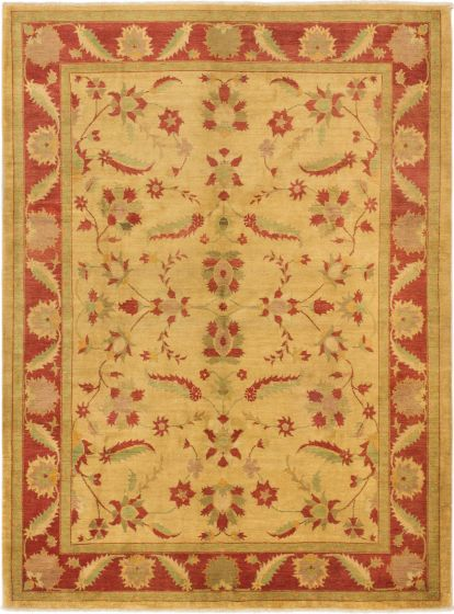 Traditional Yellow Area rug 8x10 Afghan Hand-knotted 164687