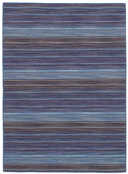 Bohemian  Stripes Blue Area rug 4x6 Indian Flat-weave 259753