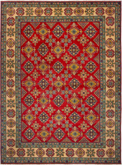 Bordered  Traditional Red Area rug 9x12 Afghan Hand-knotted 272418