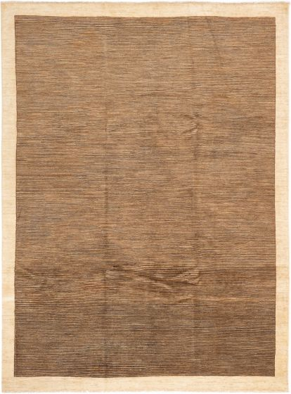 Stripes  Transitional Brown Area rug 8x10 Afghan Hand-knotted 280356