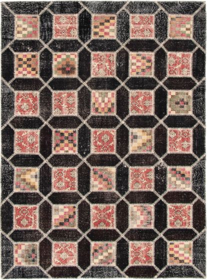 Casual  Transitional Black Area rug 6x9 Turkish Hand-knotted 295950