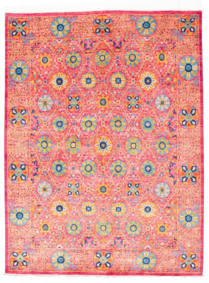 Bordered  Transitional Pink Area rug 9x12 Pakistani Hand-knotted 311041