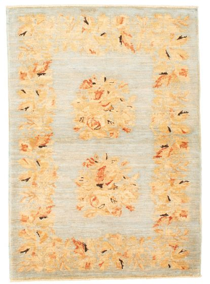 Casual  Transitional Blue Area rug 3x5 Pakistani Hand-knotted 331302