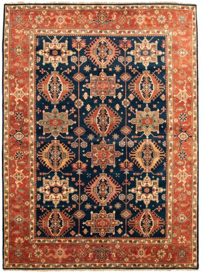 Bordered  Traditional Blue Area rug 9x12 Indian Hand-knotted 331895