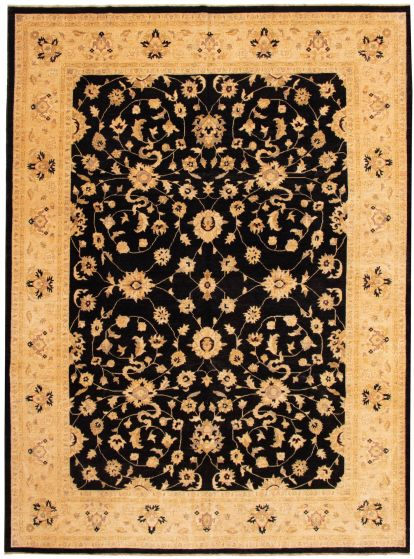 Bordered  Traditional Black Area rug 9x12 Afghan Hand-knotted 338474