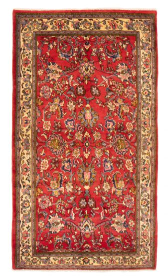 Bordered  Traditional Red Area rug 4x6 Persian Hand-knotted 358647