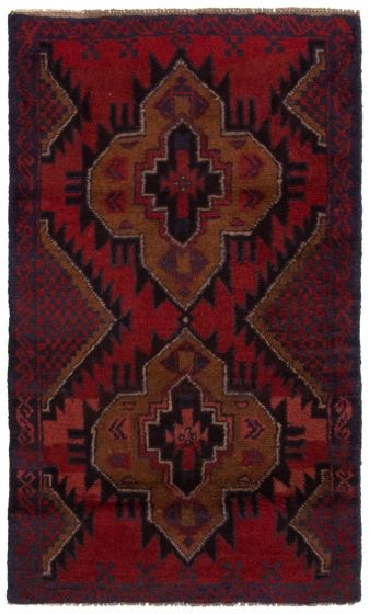 Bordered  Tribal Red Area rug 3x5 Afghan Hand-knotted 360580