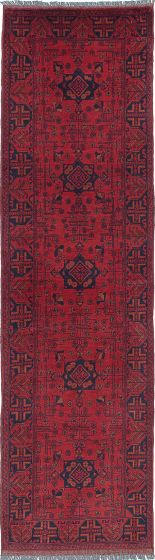 Traditional Red Runner rug 10-ft-runner Afghan Hand-knotted 222243