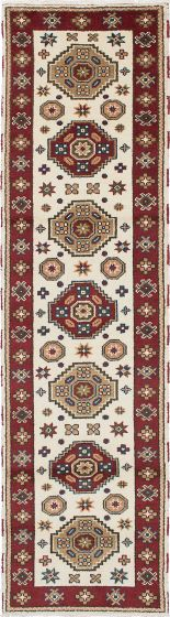 Traditional Ivory Runner rug 10-ft-runner Indian Hand-knotted 223507