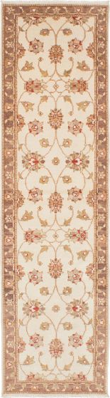 Traditional Ivory Runner rug 10-ft-runner Indian Hand-knotted 223957