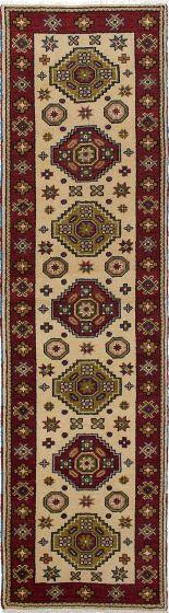 Bordered  Tribal Ivory Runner rug 10-ft-runner Indian Hand-knotted 233227