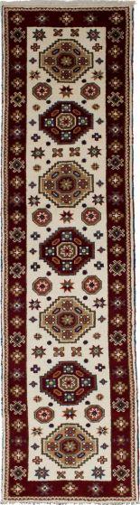 Bordered  Tribal Ivory Runner rug 10-ft-runner Indian Hand-knotted 233333