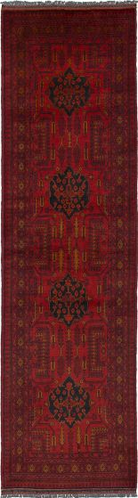 Traditional Red Runner rug 10-ft-runner Afghan Hand-knotted 235977