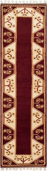 Bordered  Traditional Red Runner rug 9-ft-runner Turkish Hand-knotted 293665