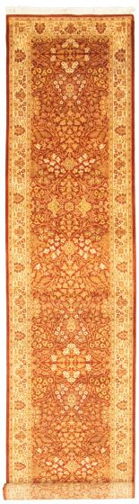 Bordered  Traditional Brown Runner rug 16-ft-runner Pakistani Hand-knotted 330322