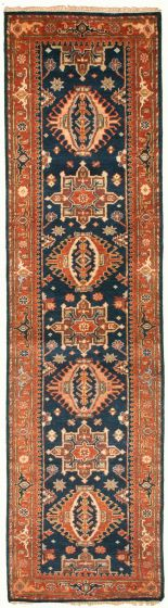 Bordered  Traditional Blue Runner rug 10-ft-runner Indian Hand-knotted 331915