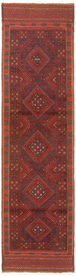 Bordered  Tribal Red Runner rug 8-ft-runner Afghan Hand-knotted 342417