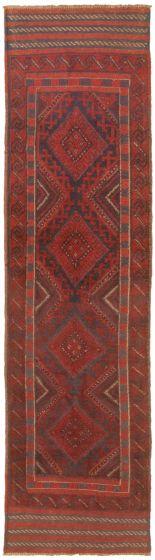 Bordered  Tribal Red Runner rug 8-ft-runner Afghan Hand-knotted 342507